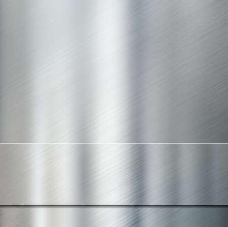 metal surface: metal stripe plate over aluminum brushed metallic surface Stock Photo