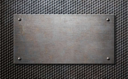 hexadecimal: metal plaque with rivets over comb grid background Stock Photo