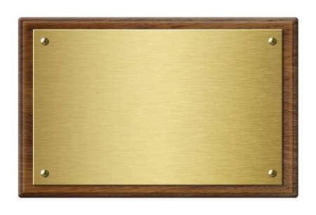 Houten frame met gouden metalen plaque 3d illustratie Stockfoto