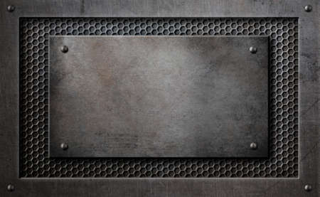 hexadecimal: metal plaque over comb grid background 3d illustration
