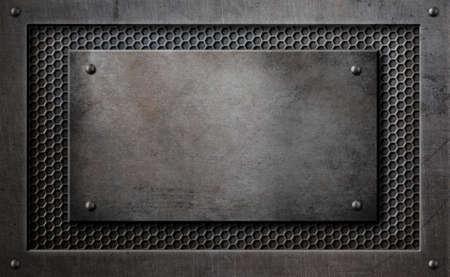 metal plaque over comb grid background 3d illustration