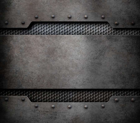 hexadecimal: metal plate background with rivets 3d illustration