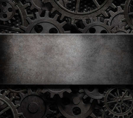 metal parts: Old cogs and gears steam punk technology background 3d illustration Stock Photo
