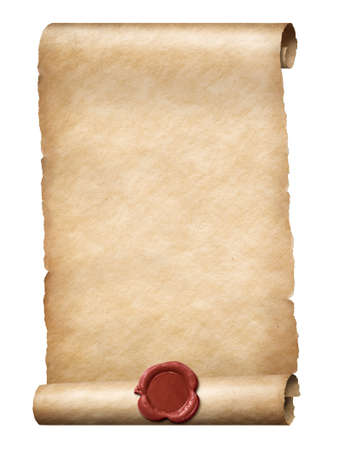 parchment scroll with red wax seal isolated on white Stock Photo