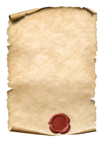 parchment with red wax seal isolated on white Stock Photo