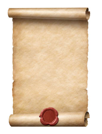 old scroll with red wax seal isolated 3d illustration