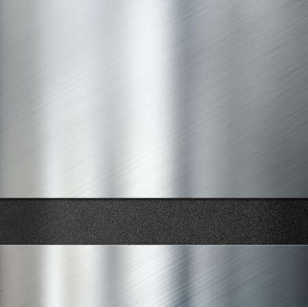 brushed steel: metal plates over black plastic background
