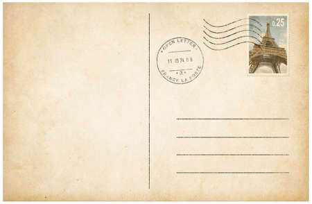 old stamp: Old style postcard with postage stamp 3d illustration Stock Photo