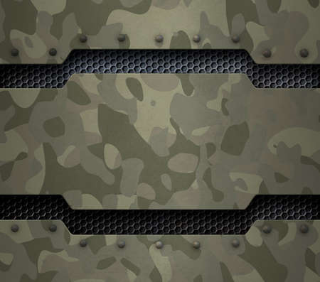 Green military metal with camouflage and rivets