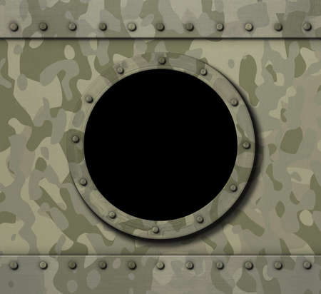 brushed steel: porthole window on military metal background