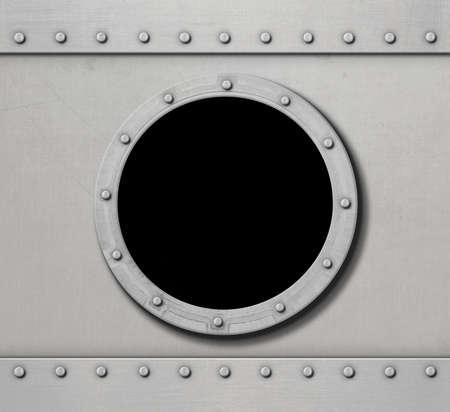 shackle: metal submarine or ship wall with porthole