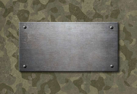 pattern: Grunge metal plate with military camouflage 3d illustration