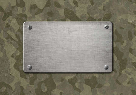 heavy: Grunge metal plaque with military camouflage 3d illustration