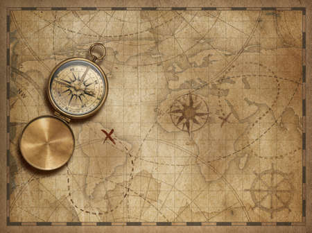 Pirates Old Treasure Map On Wooden Desk With Compass And Ruler - Antiques us maps with compass