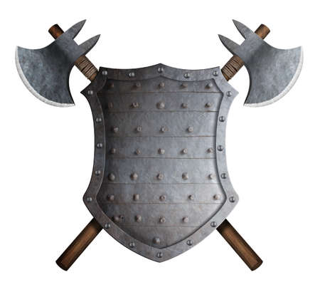 metal spiked shield and two crossed battle axes 3d illustration Stock Photo