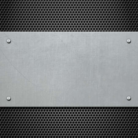 metal plate with rivets background 3d illustration Stock Photo
