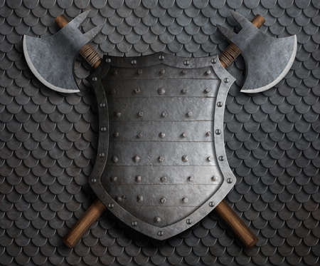 metal medieval fantasy shield and two crossed axes on armor