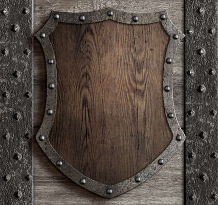 castello medievale: medieval wooden shield on castle gate 3d illustration
