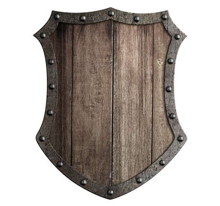 security symbol: medieval wooden shield isolated 3d illustration Stock Photo