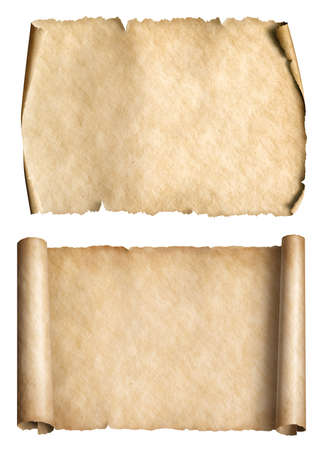 Old paper scrolls or parchments realistc set isolated Stock Photo