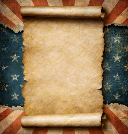 declaration of independence: Grunge blank paper scroll over USA flag independence day template 3d illustration