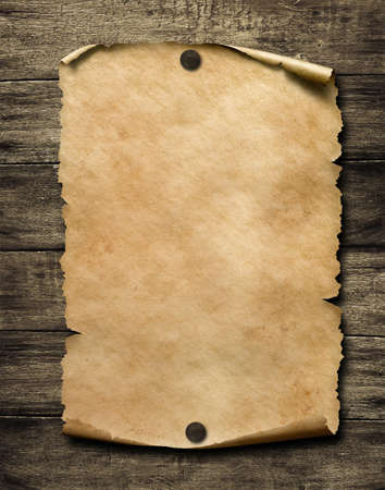 Old blank paper with nails 3d illustration