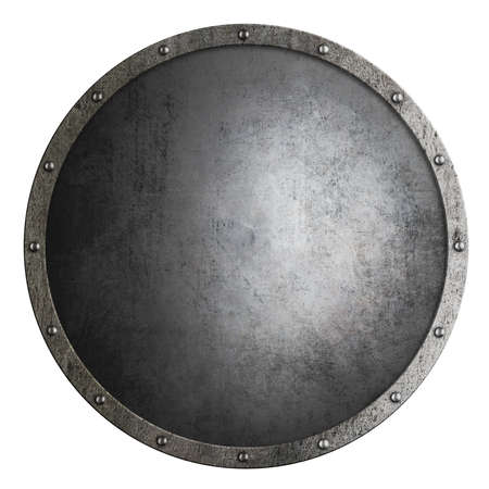 medieval round shield isolated 3d illustration
