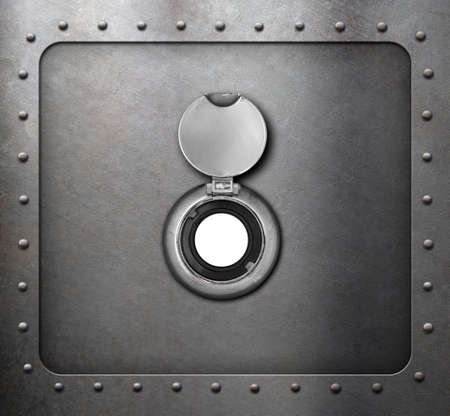 peephole on metal armored door closeup