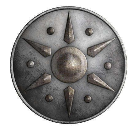 rivets: metal medieval round shield isolated 3d illustration