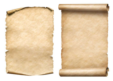 brown: two old paper scrolls or parchments realistic set isolated