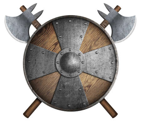 old wooden crusaders shield and two crossed axes isolated 3d illustration Stock Photo