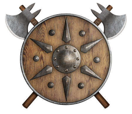 old wooden shield and two crossed axes isolated 3d illustration Stock Photo