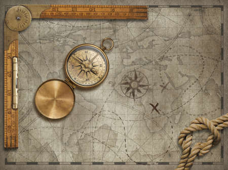 Old Map Background With Compass Rope And Ruler Adventure And - Antiques us maps with compass