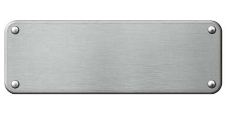 steel plate: narrow metal plate with rivets isolated 3d illustration Stock Photo
