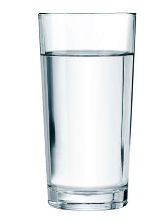 Water glass isolated on white vector illustration.