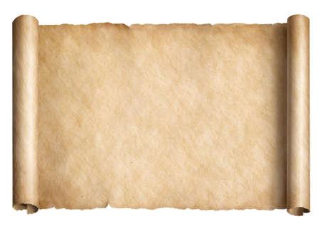 Desplazamiento de papel viejo o pergamino aislado ilustración 3d orientada horizontalmente