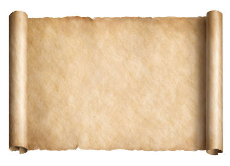 Old paper scroll or parchment isolated horizontally oriented 3d illustration
