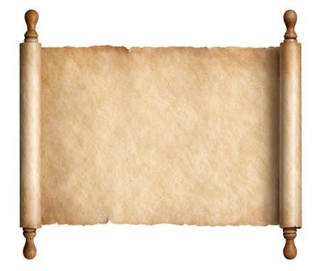 Vieux rouleau de papier ou ancien parchemin isolé illustration 3d Banque d'images - 86541173