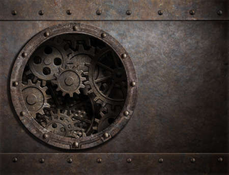 grille: rusty metal background with porthole and gears inside 3d illustration Stock Photo