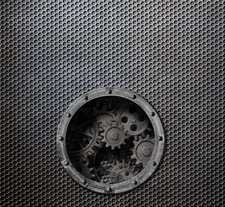 rusty metal grid background with porthole and gears inside 3d illustration