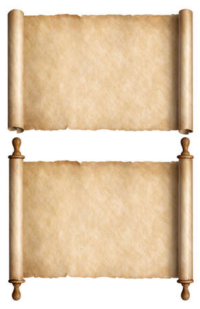Old paper scrolls or ancient parchments set isolated 3d illustration
