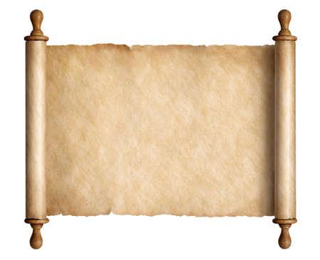 Vieux parchemin de défilement avec des poignées en bois isolé 3d illustration Banque d'images - 86948143