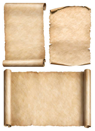 Old paper scrolls and parchments realistic 3d illustration set