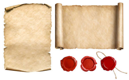 Vintage letter scroll or papyrus with wax seal stamps set isolated 3d illustration