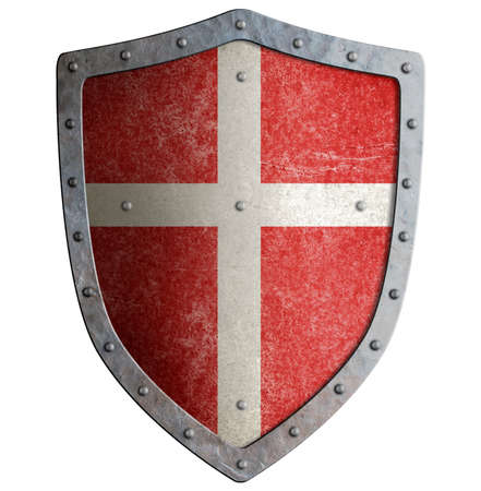 Red crusader's shield with white cross isolated on white Banco de Imagens