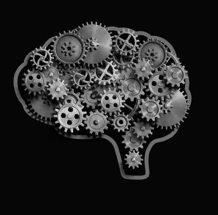 Brain made from metal gears and cogs 3d illustration Stock Photo