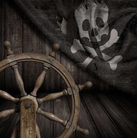 Pirates, navire, volant, vieux, jolly, roger, drapeau, 3D, illustration