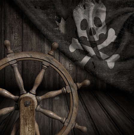 Pirates ship steering wheel with old jolly roger flag 3d illustration Stock Photo