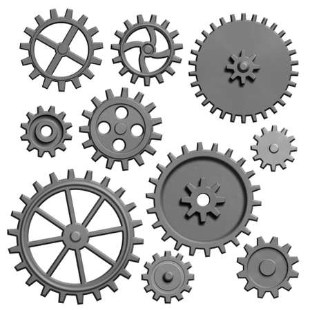 metal gears and cogs isolated 3d illustration