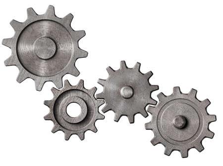 metal gears and cogs cluster isolated 3d illustration Banco de Imagens - 90424290